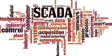 SCADA word cloud concept. Vector illustration Illustration