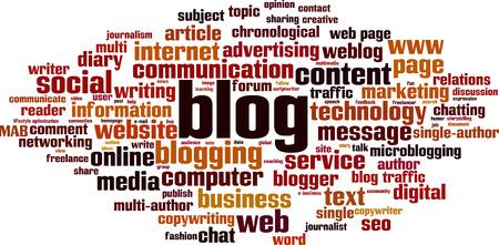 Blog word cloud concept. Vector illustration