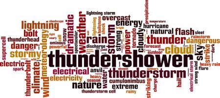 Thundershower word cloud concept. Vector illustration  イラスト・ベクター素材