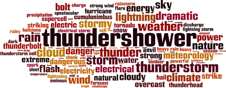 Thundershower word cloud concept. Vector illustration Illusztráció
