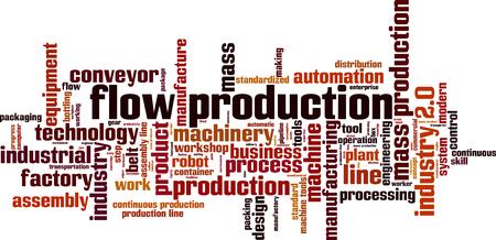 Flow production word cloud concept. Vector illustration