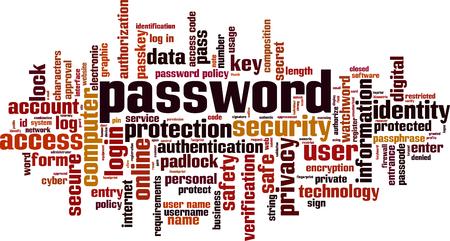 Password word cloud concept. Vector illustration