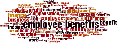 employee benefits word cloud concept. Vector illustration