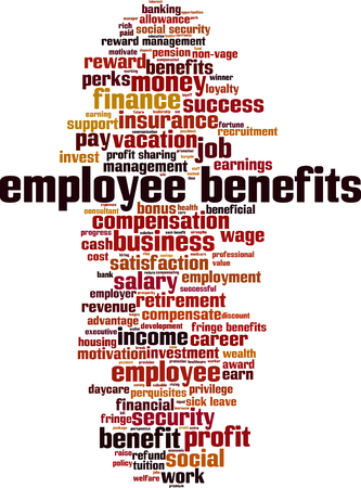 employee benefits word cloud concept. Vector illustration Banque d'images - 125328879