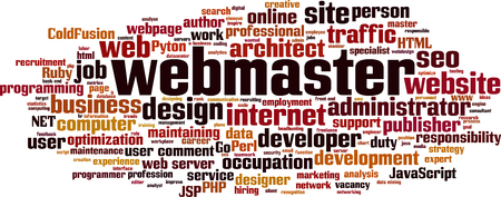 Webmaster word cloud concept. Vector illustration Illustration