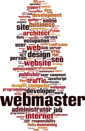 Webmaster word cloud concept. Vector illustration Illustration