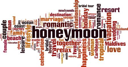 Honeymoon word cloud concept. Vector illustration  イラスト・ベクター素材