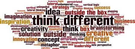 Denk aan een ander woordwolkconcept. vector illustratie