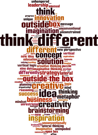 Think different word cloud concept. Vector illustration Illustration