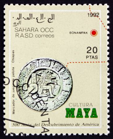 SAHARA - CIRCA 1992: a stamp printed in Sahrawi Arab Democratic Republic shows ballcourt marker, Mesoamerican ballgame, circa 1992