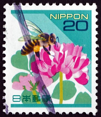 JAPAN - CIRCA 1997 a stamp printed in Japan shows Honey bee, apis mellifera, insect, circa 1997