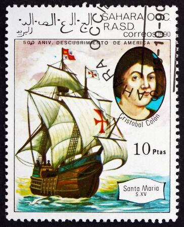 SAHARA - CIRCA 1990: a stamp printed in Sahrawi Arab Democratic Republic shows Cristobal Colon and Santa Maria, circa 1990