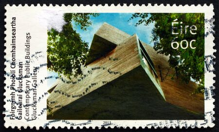 IRELAND - CIRCA 2013: a stamp printed in Ireland shows Glucksman Gallery, contemporary public building, circa 2013