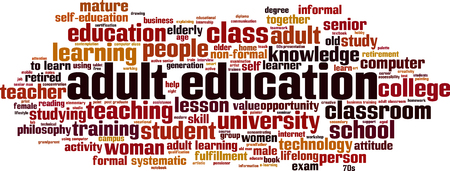 Adult education word cloud concept. Vector illustration