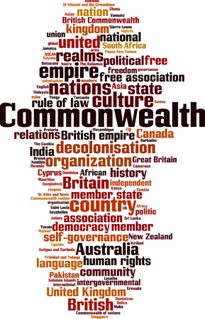 Commonwealth word cloud concept. Vector illustration