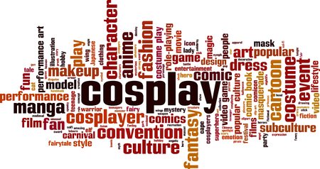 Cosplay word cloud concept. Vector illustration