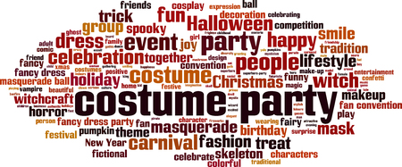 Costume party word cloud concept. Vector illustration