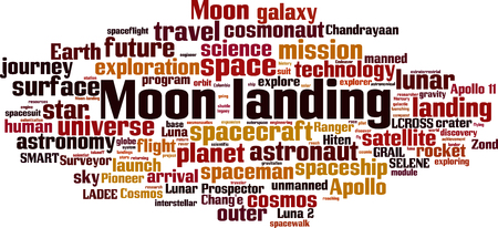Moon landing word cloud concept. Vector illustration