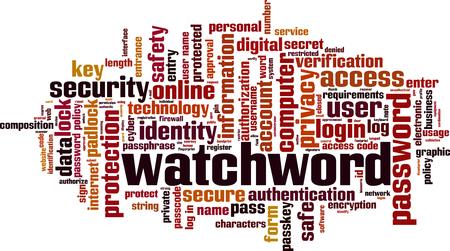 Watchword word cloud concept. Vector illustration Archivio Fotografico - 119072729