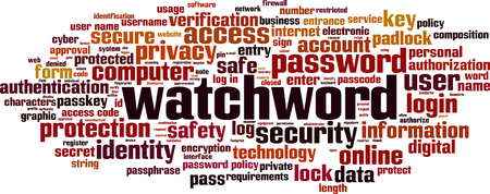 Watchword word cloud concept. Vector illustration Stock Vector - 119072730