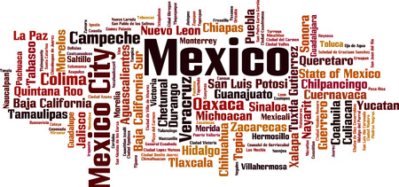 Cities in Mexico word cloud concept. Vector illustration