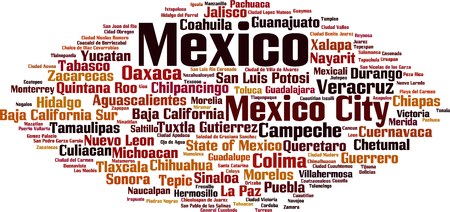 Cities in Mexico word cloud concept. Vector illustration Imagens - 119072731