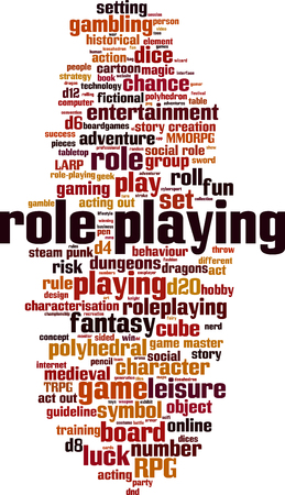 Role playing word cloud concept. Vector illustration