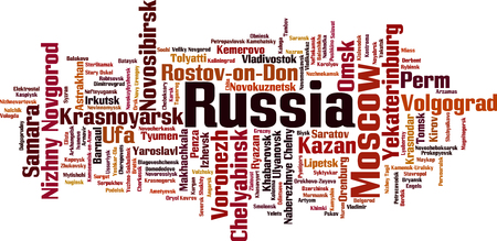 Cities in Russia word cloud concept. Vector illustration 일러스트