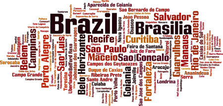 Cities in Brazil word cloud concept. Vector illustration