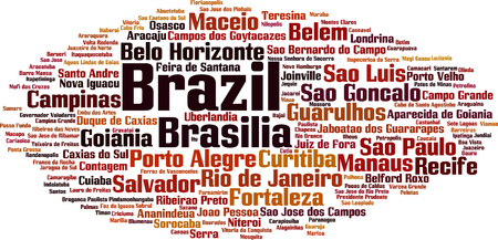 Cities in Brazil word cloud concept. Vector illustration 일러스트