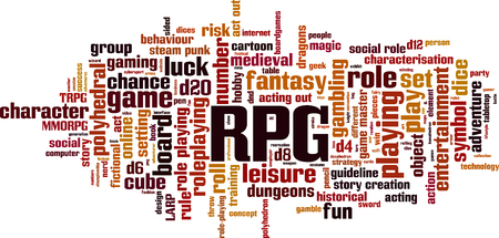 RPG word cloud concept. Vector illustration Çizim