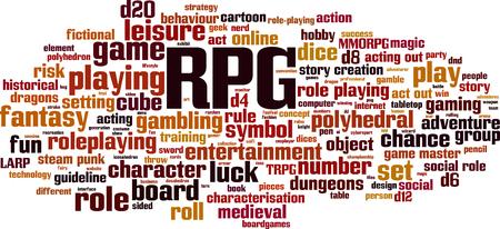 Concepto de nube de word de RPG. Ilustración vectorial