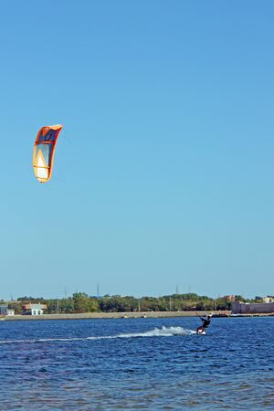 NIN, CROATIA - JUNE 27, 2011: Kitesurfing, extreme sport in Nin. Nin is most popular place in Croatia for kitesurfing