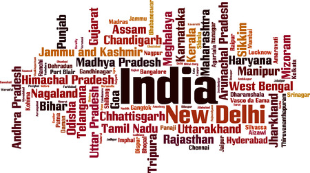 Cities in India word cloud concept. Vector illustration Illustration