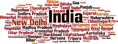 Cities in India word cloud concept. Vector illustration