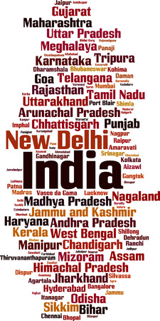 Cities in India word cloud concept. Vector illustration Ilustração