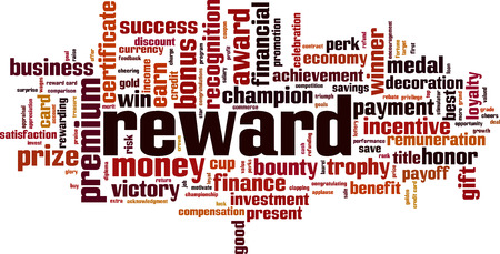 Reward word cloud concept. Vector illustration