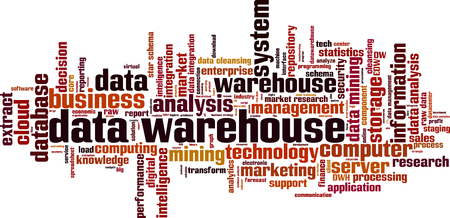 Data warehouse word cloud concept. Vector illustration