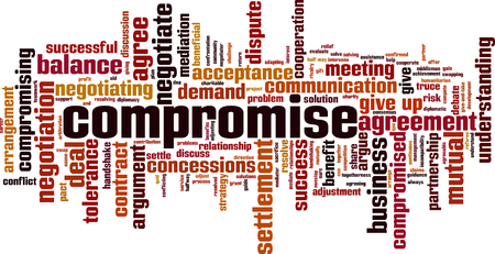 Compromise word cloud concept. Collage made of words about compromise. Vector illustration