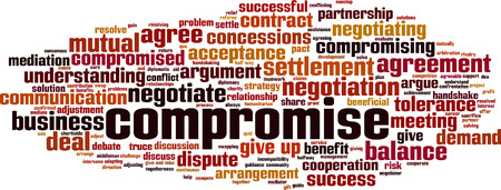 Compromise word cloud concept. Collage made of words about compromise. Vector illustration Foto de archivo - 125405290
