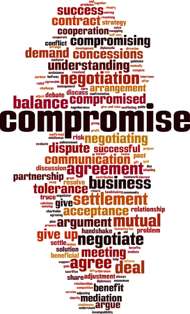 Compromise word cloud concept. Collage made of words about compromise. Vector illustration Foto de archivo - 125405291