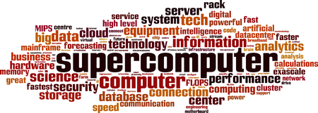Supercomputer word cloud concept. Collage made of words about supercomputer. Vector illustration Ilustração