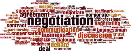 Wort Cloud-Konzept für Verhandlungen. Collage aus Wörtern über Verhandlungen. Vektor-Illustration