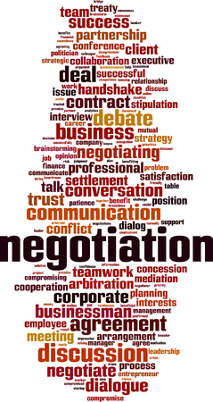 Negotiation word cloud concept. Collage made of words about negotiation. Vector illustration Stock Illustratie