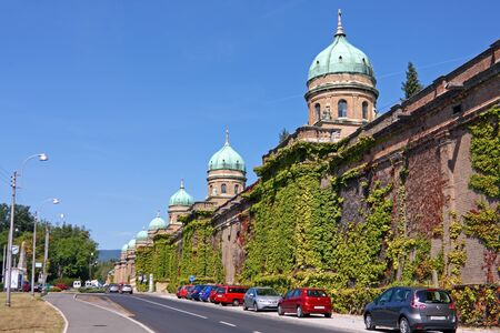 ZAGREB, CROATIA - AUGUST 21, 2012: Monumental architecture of Mirogoj cemetery arcades in Zagreb, Croatia