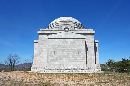 OTAVICE, CROATIA - APRIL 10, 2012: The Most Holy Redeemer Church, Mestrovic family mausoleum made by Ivan Mestrovic 新聞圖片