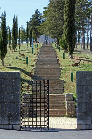 OTAVICE, CROATIA - APRIL 10, 2012: Stairways to the Most Holy Redeemer Church, Mestrovic family mausoleum made by Ivan Mestrovic