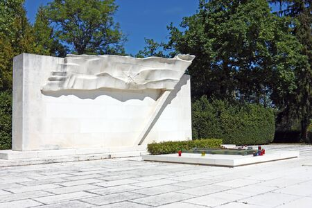 ZAGREB, CROATIA - AUGUST 21, 2012: The Tomb of the Peoples Heroes located in Zagrebs central graveyard, Mirogoj