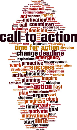 Call to action word cloud concept. Collage made of words about call to action. Vector illustration