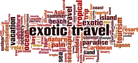 Exotic travel word cloud concept. Collage made of words about exotic travel. Vector illustration Stok Fotoğraf - 125405483